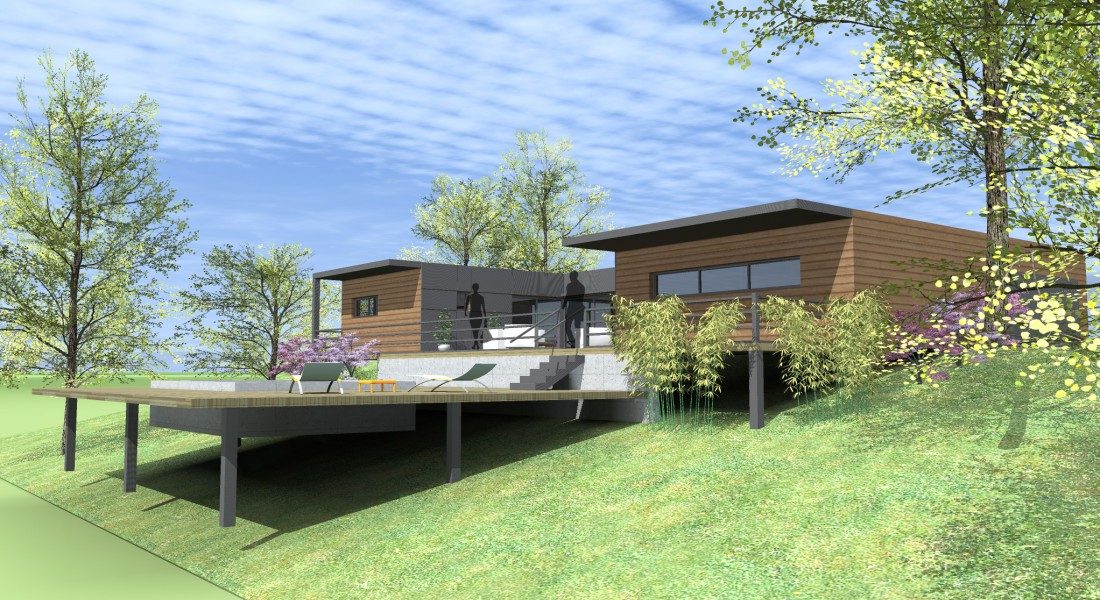 Quel type de maison contemporaine choisir for Construction piscine sur terrain en pente