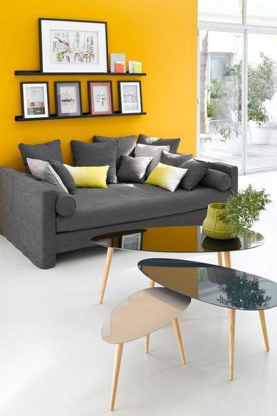 Couleur des murs laquelle choisir pour le salon - Decoration salon jaune moutarde ...