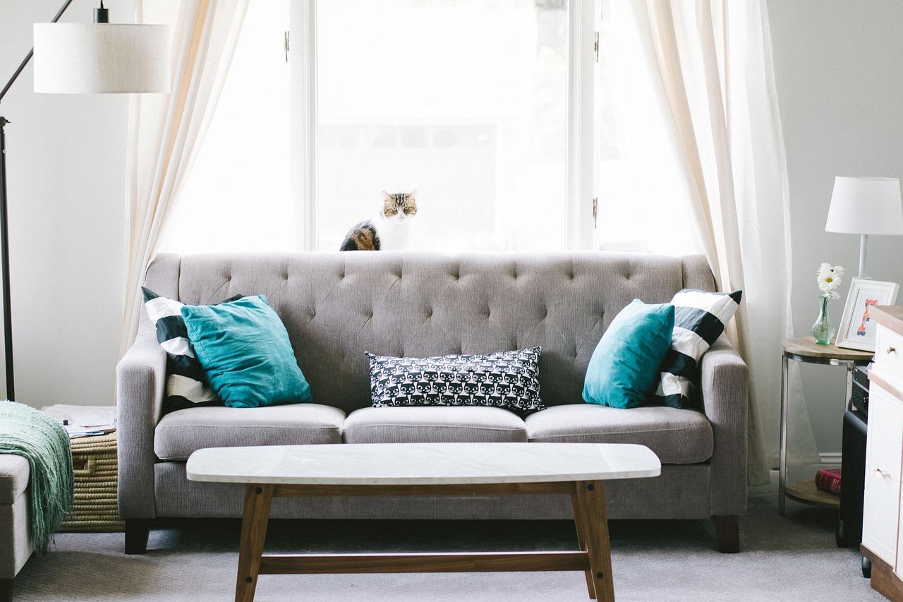 salon avec canapé gris et table basse blanche et bois