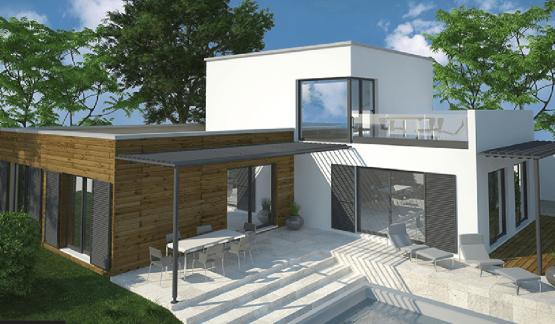 Maison design à toit plat avec étage et piscine