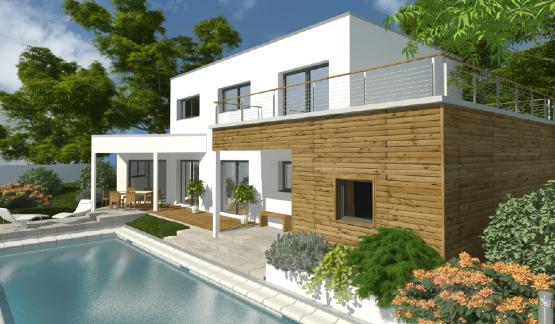 Maison à toit terrasse avec étage et psicine