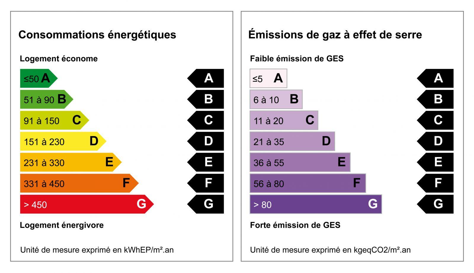 Étiquettes du diagnostic de performance énergétique